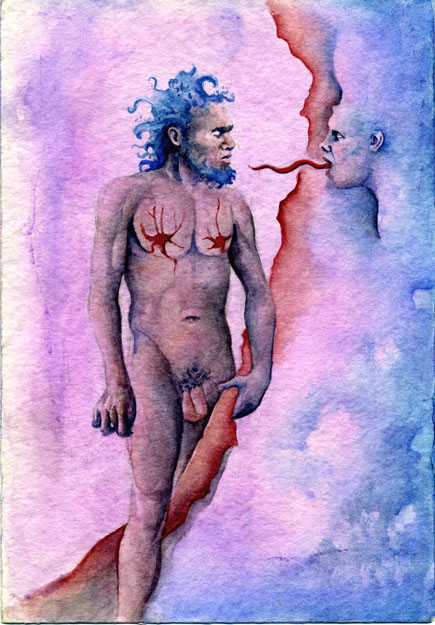 Naked Man watercolor on paper
