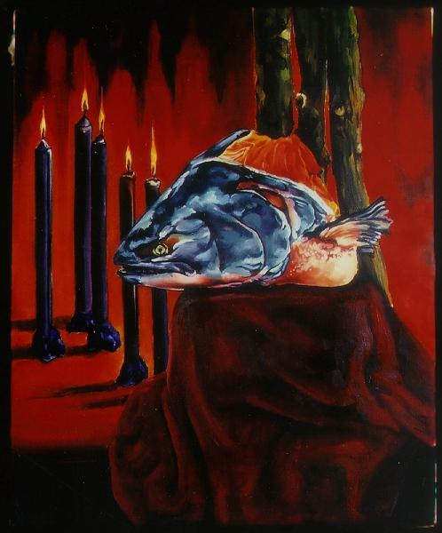Enshrined Salmon oil on canvas