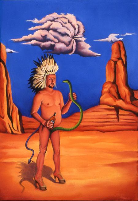 Satanic Apache, Reverend Stephen Leyba oil on canvas
